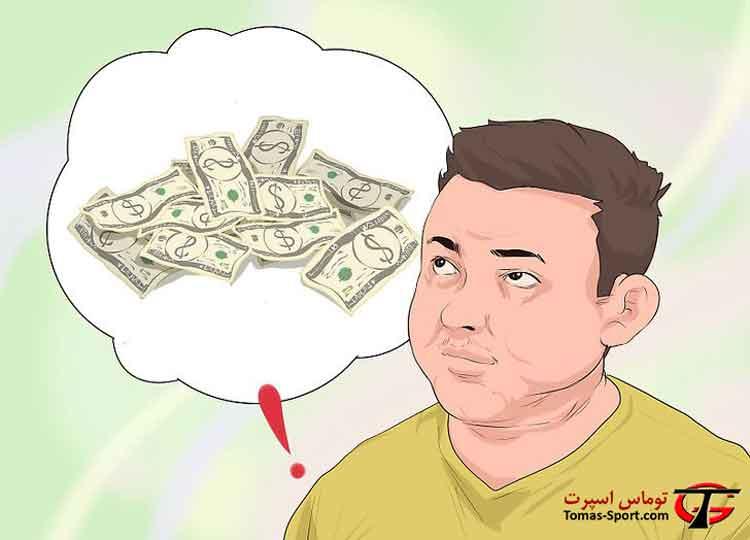 فکر کردن مرد به پول مورد نیاز برای خرید تردمیل